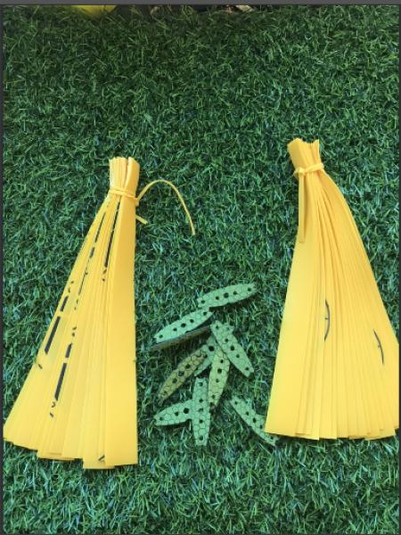 Bảng giá combo 40 sợi thun aeband màu vàng tặng kèm 10 miếng da và dây buộc