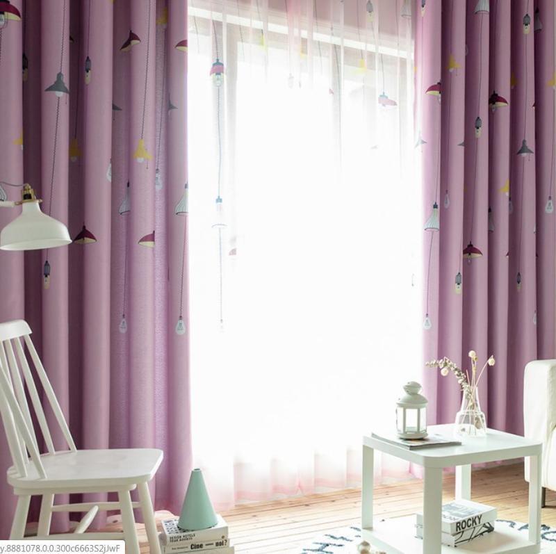 Rèm vải dày che nắng tốt đèn chùm hồng 4m x 2.7m dài