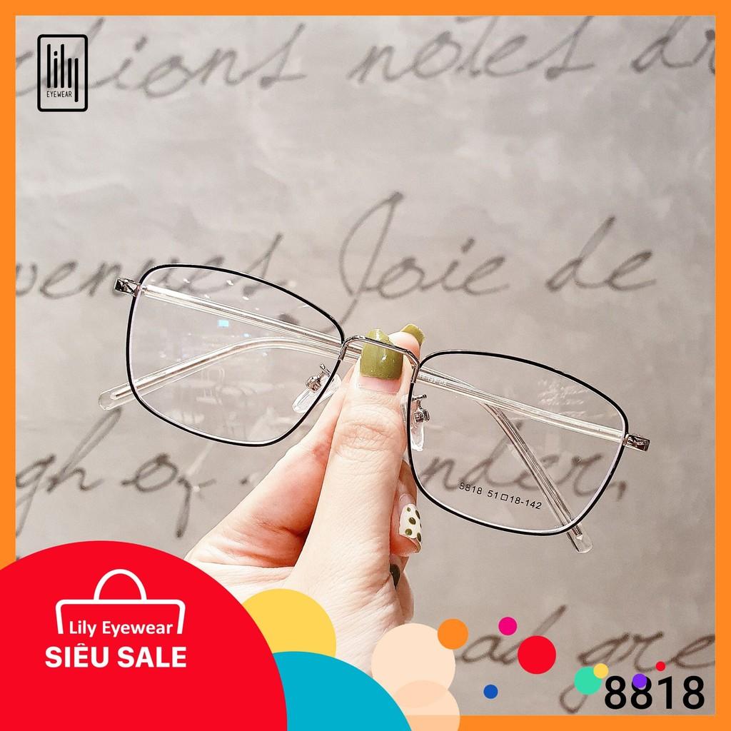 Mua Gọng kính kim loại nữ mắt vuông Lilyeyewear 8818, nhẹ nhàng thanh mảnh, giúp người đeo thoải mái, phù hợp với nhiều khuôn mặt , gọng kính có nhiều màu, một size