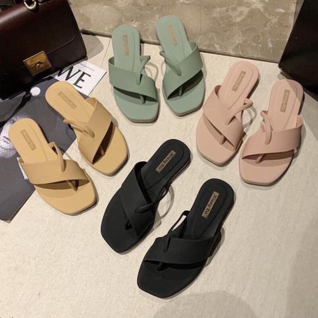 Dép nữ xỏ ngón nhựa dẻo mềm 005 đi mưa thoải mái-dép quai ngang,dép sandal nữ Shoesshop giá rẻ