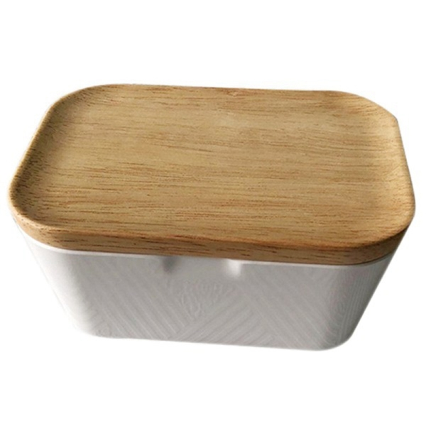 Butter Dish Butter Box Container with Wooden Cover Home Tool Useful, Home Storage Box 250ML Multi-Function Preservation Box, Butter Container