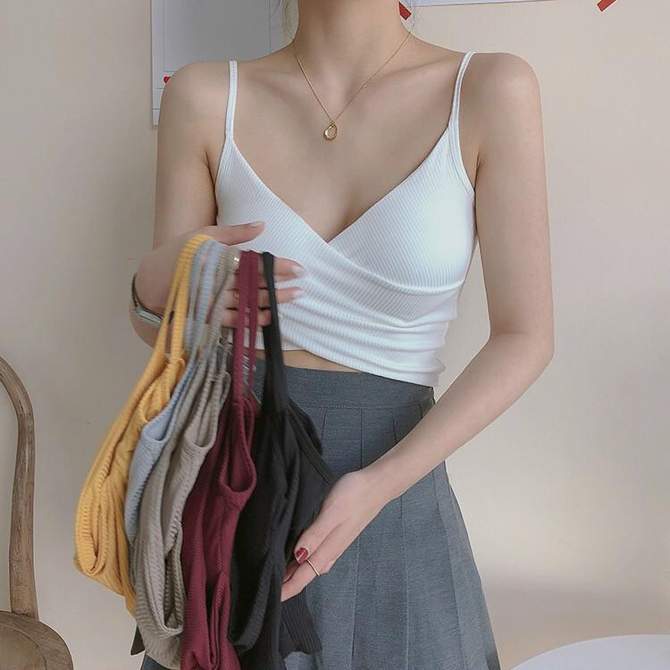 Áo 2 dây nữ chéo trước sành điệu - áo croptop 2 dây ôm dáng - áo bra nữ - áo tập gym nữ - áo tập yoga nữ - Br15