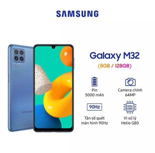 Điện thoại Samsung Galaxy M32 (8GB/128GB) - Pin 5.000 mAH - Hàng chính hãng - New seal - Tương thích sạc nhanh 25W-Đã kích BH ngày 06/10