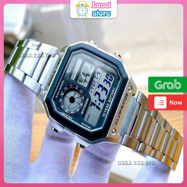 Đồng hồ casio, đồng hồ nam điện tử AE1200 dây thép không gỉ chống nước cao cấp