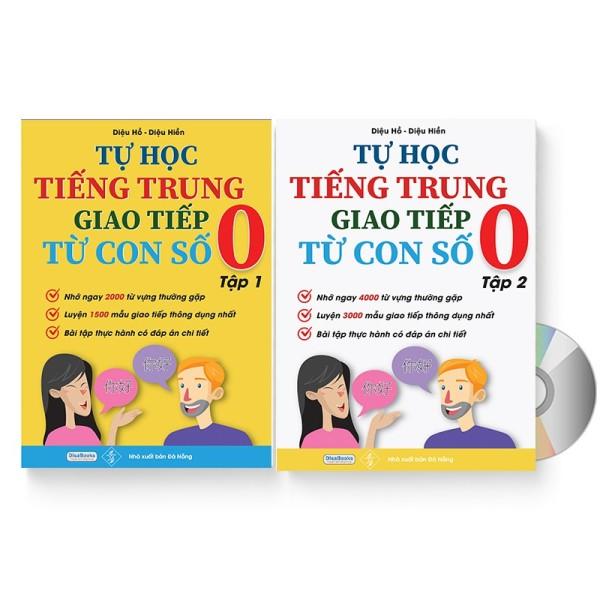 Mua Combo 2 sách Tự học tiếng Trung giao tiếp từ con số 0 tập 1 tập 2+ DVD Quà tặng