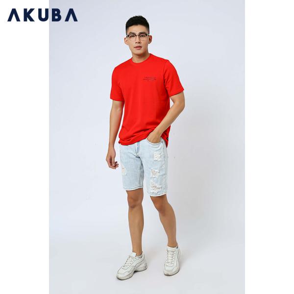 AKUBA Áo Thun Nam Tay Ngắn Màu Đỏ Form Regular J571