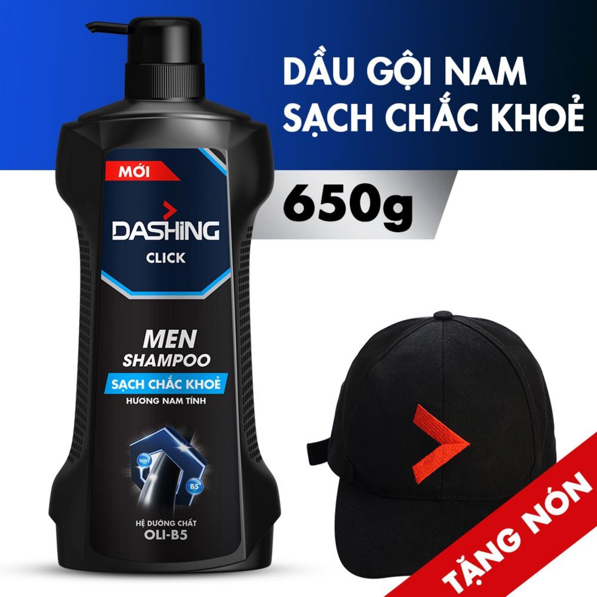[Tặng nón thời thượng] Dầu gội cho tóc sạch chắc khỏe dành cho nam giới Dashing Click Men Shampoo 650g nhập khẩu