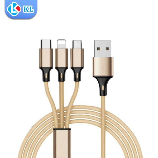Cáp Sạc Đa Năng Bọc Dù 3 Trong 1 Gồm Lightning - Micro USB - Type C, Chất Liệu Cao Cấp Độ Bền Cao