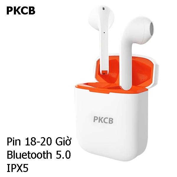 Tai Nghe Bluetooth True Wireless PKCB Không Dây Thiết Kế Nhỏ Gọn - Hàng chính hãng, âm trường rộng hơn, kết nối mạnh mẽ, thiết kế vừa vặn, chống nước IPX5