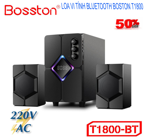 Bảng giá Loa vi tính 2.1 kiêm Bluetooth USB thẻ nhớ Bosston T1800-BT 40W led RGB 7 màu, dùng nguồn 220V (Đen), Loa Bosston Bluetooth T1800-BT 2.1 Đèn Led RGB- âm thanh cực chuẩn Phong Vũ