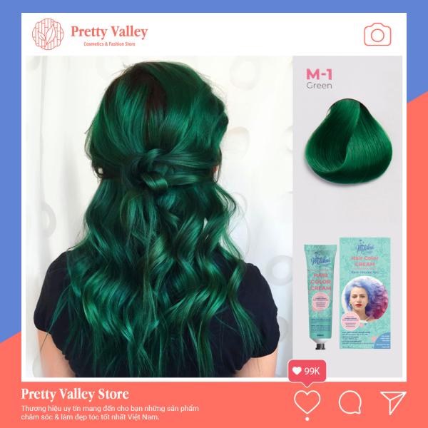 Kem nhuộm tóc cao cấp màu xanh rêu Molokai 60ml [ TẶNG KÈM GĂNG TAY + CHAI OXY TRỢ DƯỠNG TÓC ]