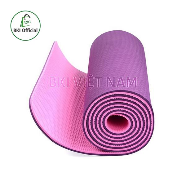 Thảm tập Yoga chống trơn trượt chất liệu TPE cao cấp 2 lớp 6mm , dụng cụ tập thể dục yoga , gym tiện lợi , thảm tập trong nhà