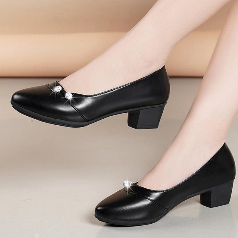 Giày cao gót nữ - giày cao gót nữ đế vuông cao 3cm - GIÀY CAO GÓT DA MỀM - ÊM CHÂN - Hàng VNXK giá rẻ