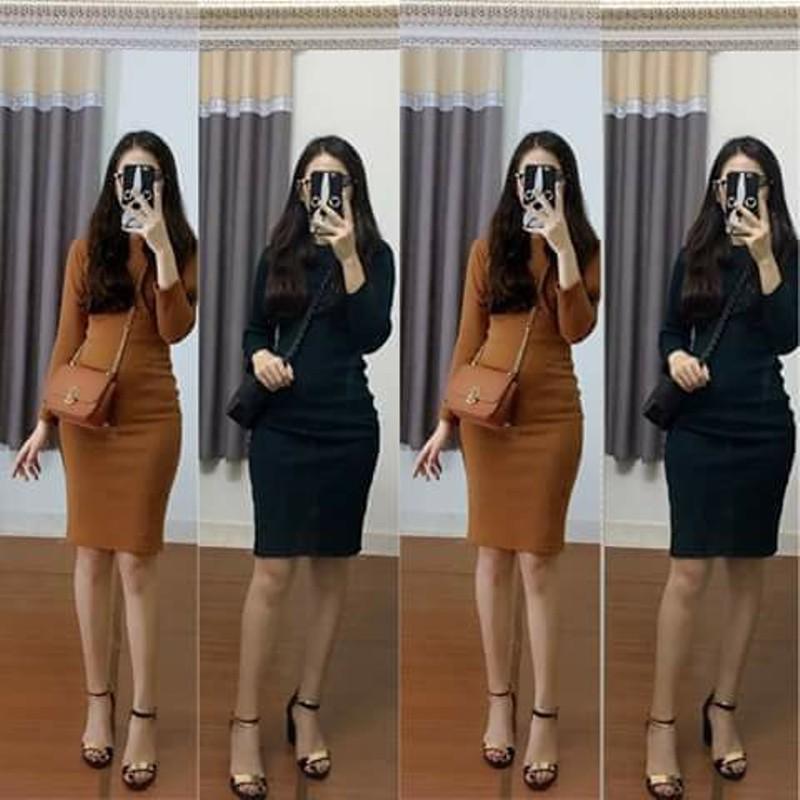 [Guu_house] Váy body len tăm dài tay cổ tròn