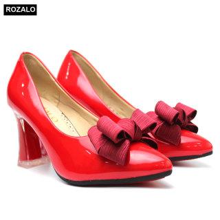 Giày nữ cao gót trong suốt 7P da bóng đính nơ Rozalo R5800 thumbnail