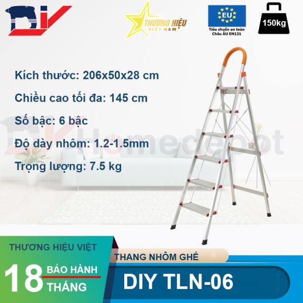 Thang Nhôm Ghế 6 Bậc Có Tay Vịn Gia Đình DIY TLN-06 - Cao 145 Cm - Bảo Hành 18 Tháng