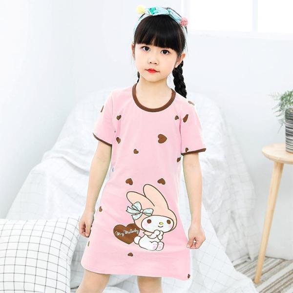 Giá bán [HCM]Đầm ngủ bé gái cotton mát mẻ hình thỏ cute cho bé 4-10 tuổi BBShine – DN001