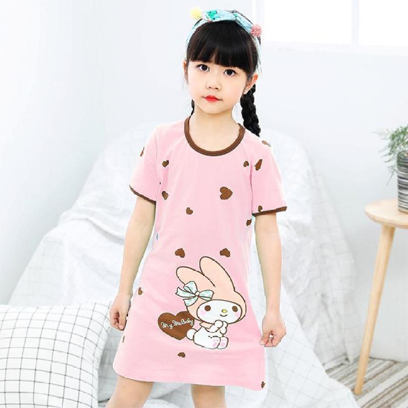 Nơi bán Đầm ngủ bé gái cotton mát mẻ hình thỏ cute cho bé 4-10 tuổi – DN001