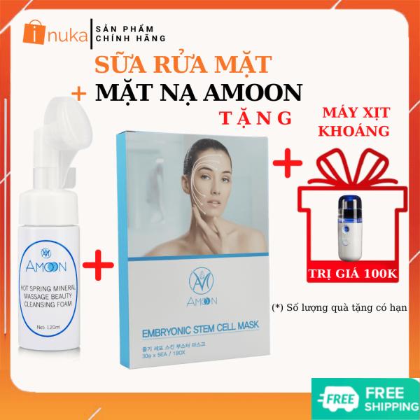 Bộ sản phẩm trắng da inuka i02 bao gồm sữa rửa mặt đầu cọ y học amoon 120ml và 5 Mặt nạ dưỡng da ngừa mụn amoon TẶNG kèm 01 máy xịt khoáng mini inuka.store