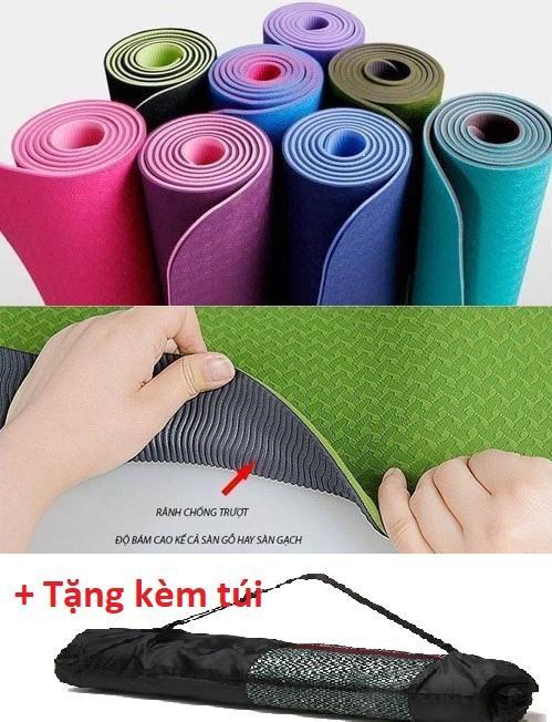 Thảm Tập Yoga TPE 2 Lớp ECOFRIENDLY 6mm Có Túi đựng - Được Chọn Màu Giá Siêu Rẻ