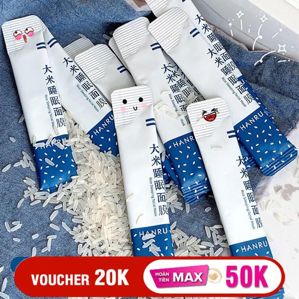 Hộp 20 gói mặt nạ ngủ tinh chất gạo HANRU dưỡng da se khít lỗ chân lông mịn màng căng bóng mặt nạ nội địa Trung mask XP-MNG01