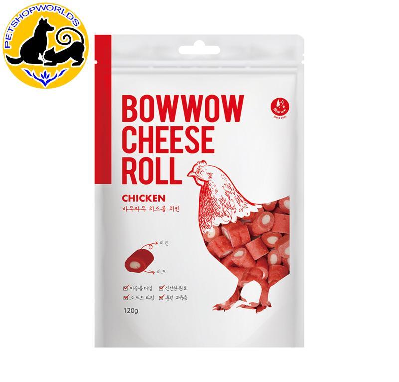 Snack cho chó Phô mai cuộn thịt gà Bowwow 120g
