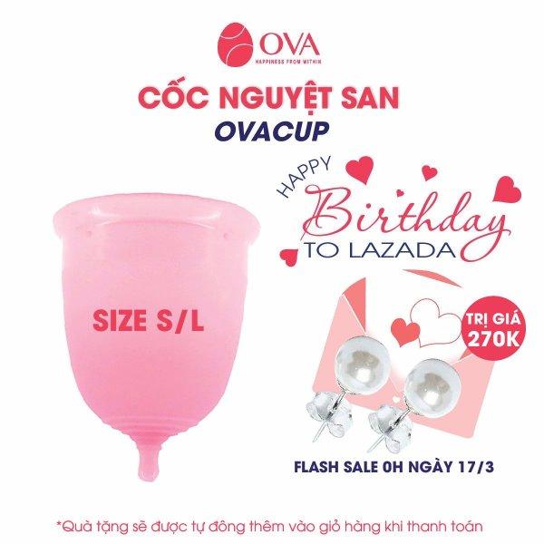Cốc nguyệt san Ovacup nhập khẩu chính hãng Made In USA 100% Silicone y tế mềm chống tràn đạt tiêu chuẩn FDA Hoa Kỳ (màu hồng)