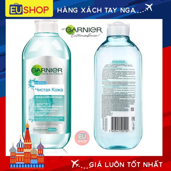 Nước tẩy trang Garnier Micellar Nga (Xanh dành cho da nhạy cảm)  Lọ 400ml