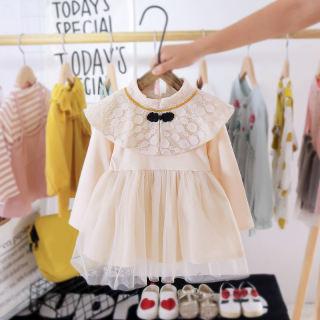 Wishbaby Đầm Sườn Xám Bé Gái Mùa Thu Phổ Biến Váy Hán Phục Cho Bé Gái Đầm Công Chúa Cho Bé Hoài Cổ Màu Be