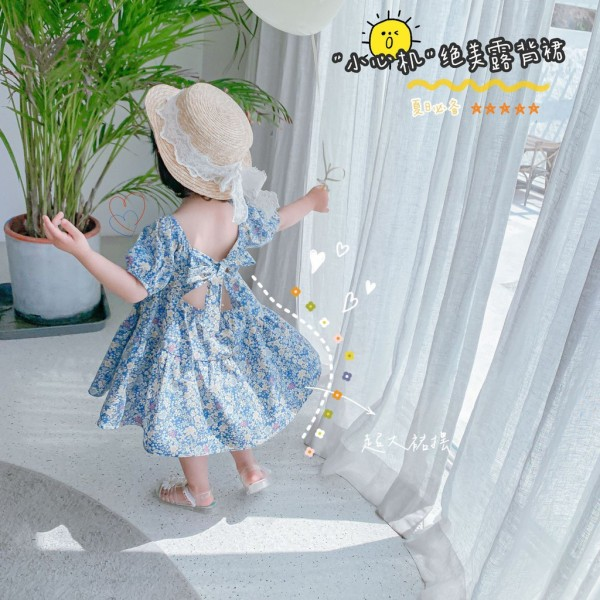 [ Babi mama ] Váy Bé Gái Dáng Xòe Cổ Thun Tiểu Thư, Đầm Trẻ Em Hoa Nhí Cột Nơ Lưng - V13-2021