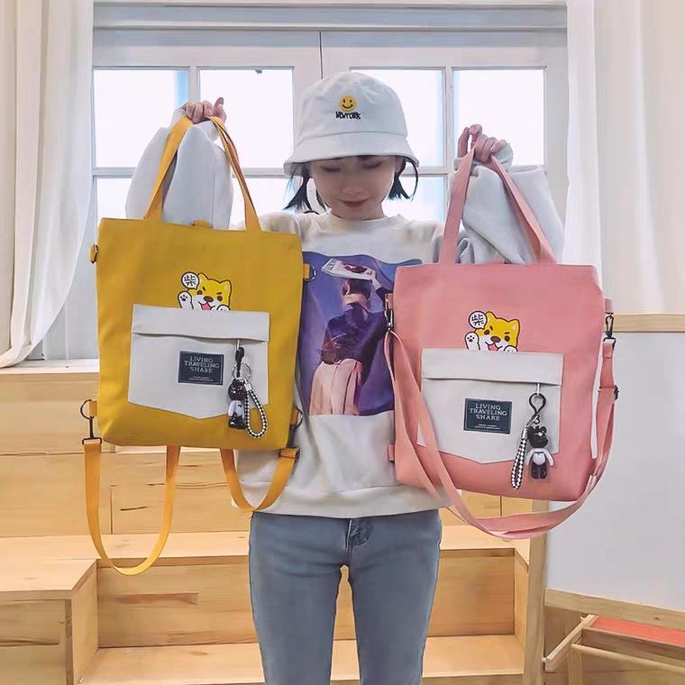 Túi Tote thời trang nữ mẫu mới siêu hot In Hình Chó Con phong cách Hàn Quốc GSS-2048 (30x41cm Ảnh Thật) Nhật Bản