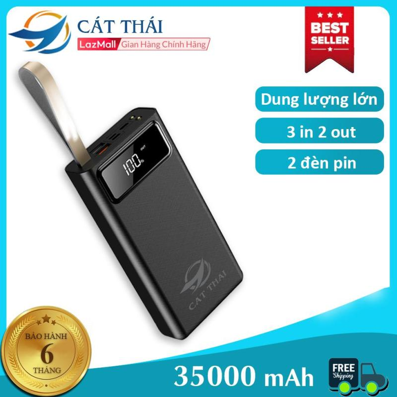 Giá Pin sạc dự phòng 35000mAh DP-01 dung lượng cực lớn, có dây treo mang theo cực kỳ tiện lợi , 3 cổng vào Type-C/ Lightning/Micro, 2 cổng USB ra, sạc pin với tốc độ 2.1A Iphone và Android đều có thể sử dụng