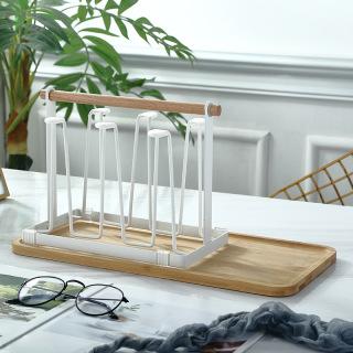 Khay úp ly, cốc không gỉ kèm khay hứng nước, để bình nước bằng gỗ cao cấp, chống ẩm mốc, dễ vệ sinh thumbnail