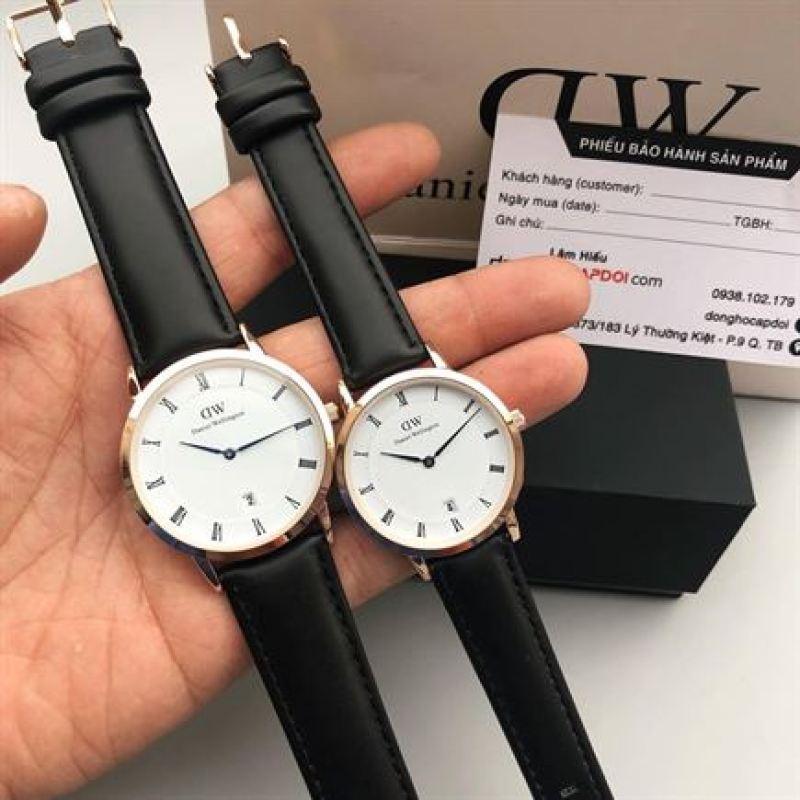 Đồng hồ cặp DWWW DÂY ĐEN cao cấp