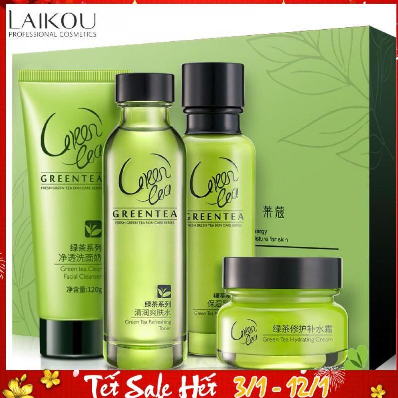 Bộ dưỡng ẩm cao cấp LAIKOU trà xanh làm săn chắc và chống lão hóa bộ chăm sóc da mặt bộ mỹ phẩm TK-BM142 nhập khẩu