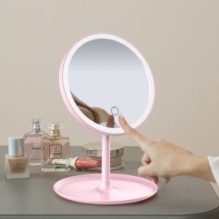 Gương trang điểm để bàn có đèn led cảm ứng sạc bằng cổng usb-3 chế độ ánh sáng thumbnail