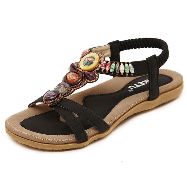 LAKESHI Giày Sandal Nữ Mùa Hè Đi Biển Cho 2019 Mới Dép Nữ Đế Bằng Bohemian Đính Hạt Mềm Mại Nữ Size 44 45 Bán giỏi nhấtjkjk giá rẻ