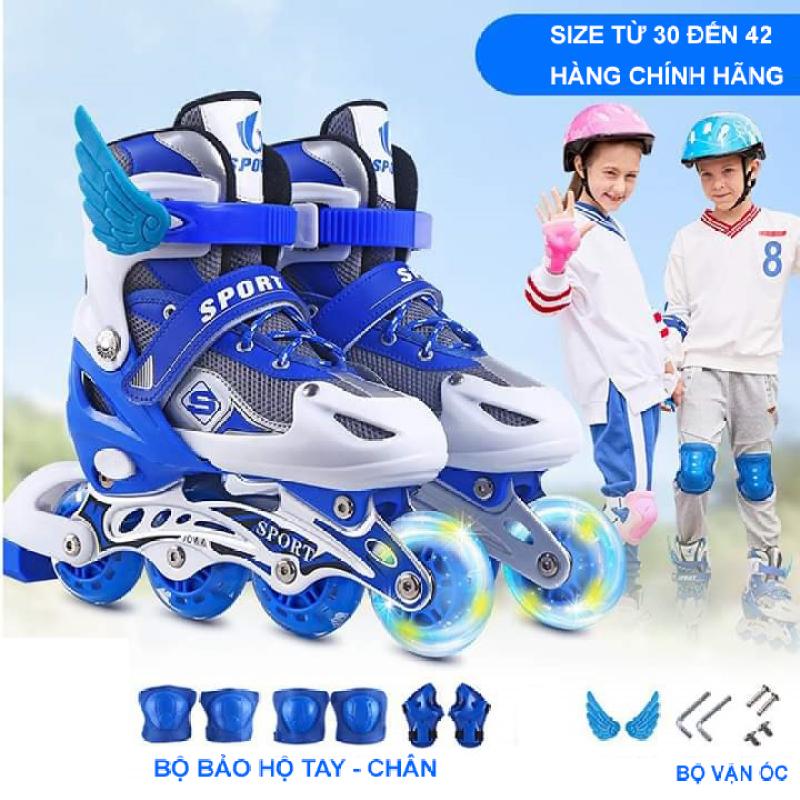 Phân phối Giày trượt patin Sport có bảo hộ chân tay phát sáng cao cấp - giày patin trẻ em người lớn - Mẫu Mới 2020