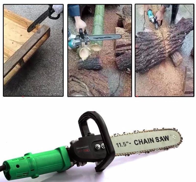 Bộ lưỡi cưa xích gắn máy mài - Loại Xịn có bình tra dầu tự động gắn liền- Bộ chuyển đổi máy mài góc thành cưa xích (Màu ngẫu nhiên)