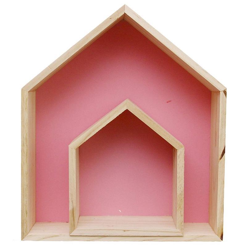 2Pcs Lovely Wooden House-Shaped Wall Storage Shelf KidS Room Decoration