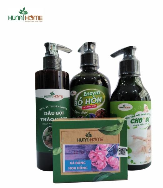 (Khuyến mại đặc biệt khai chương shop) bộ combo 4 sản phẩm dầu gội thảo dược, sữa tắm gội cho bé,nước tẩy rửa enzym bồ hòn, xà bông thiên nhên cao cấp