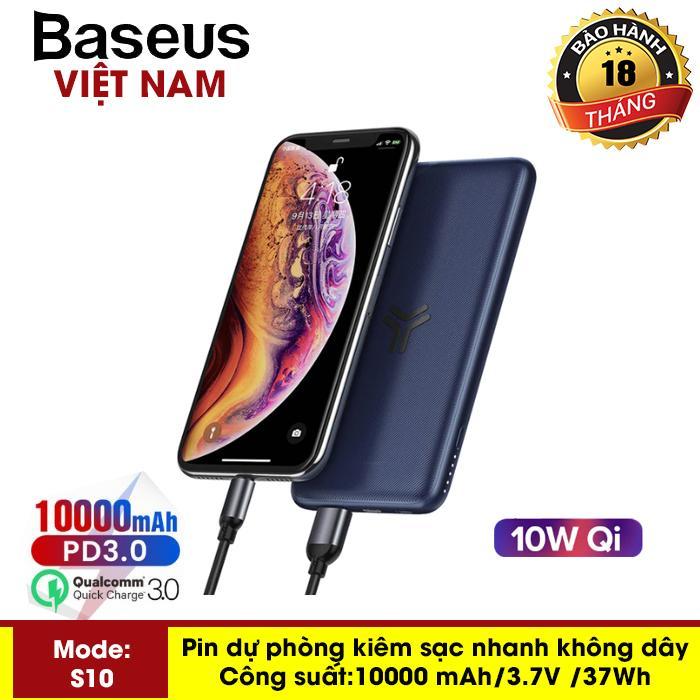 Giá Pin dự phòng Baseus S10 siêu mỏng sạc nhanh không dây 10W, dung lượng pin 10000 mAh công nghệ sạc nhanh cổng PD 3.0 sạc nhanh 2 chiều và Qualcomm QC 3.0 thiết kế đẹp độc đáo - Phân phối bởi Baseus Vietnam