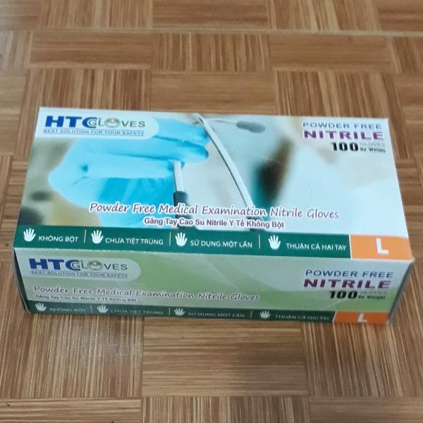Găng Tay  ( bao tay ) Cao Su Y Tế Không Bôt  HTC Glove hộp 100 cái màu xanh