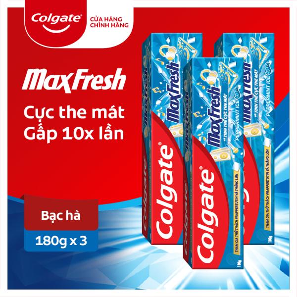 Bộ 3 Kem đánh răng Colgate bạc hà the mát Maxfresh 180g/tuýp - Phiên bản giới hạn: Rapper tự tin giá rẻ