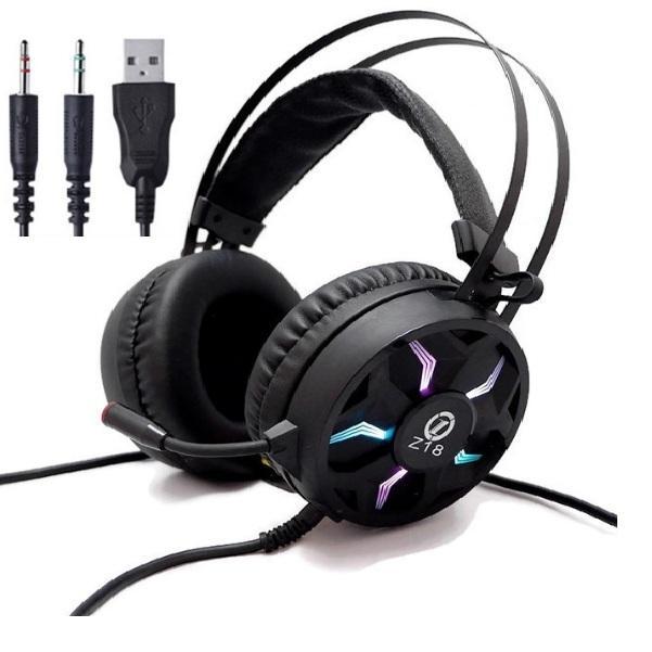Giá [RẺ VÔ ĐỊCH] Tai Nghe Chuyên Game Z18 LED RGB Siêu Đẹp, Âm Siêu Hay ,Tai nghe ,tai nghe gaming ,tai nghe chụp tai ,Tai nghe Z18  gaming (LedRGB  ) 3.5 ,3HCOMPUTER