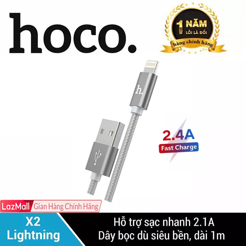 Cáp Sạc Bọc Dù Siêu Bền Lightning HOCO X2 Cho IPhone/iPad Sạc Nhanh Dài 1m IPhone 7Plus IPhone XS Max Siêu Tiết Kiệm