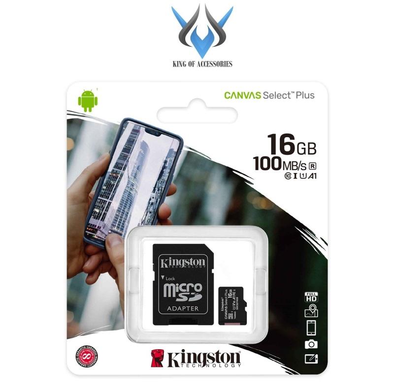 Thẻ nhớ microSDHC Kingston Canvas Select Plus 16GB 100MB/s U1 - chuẩn V10 A1 (Đen) - Kèm Adapter - Phụ Kiện 1986