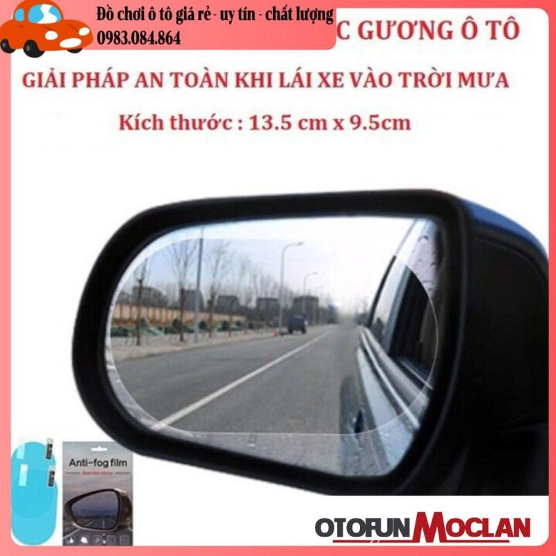 Cặp 2 miếng dán chống bám nước mưa trên kính hậu xe ô tô - hình bầu dục