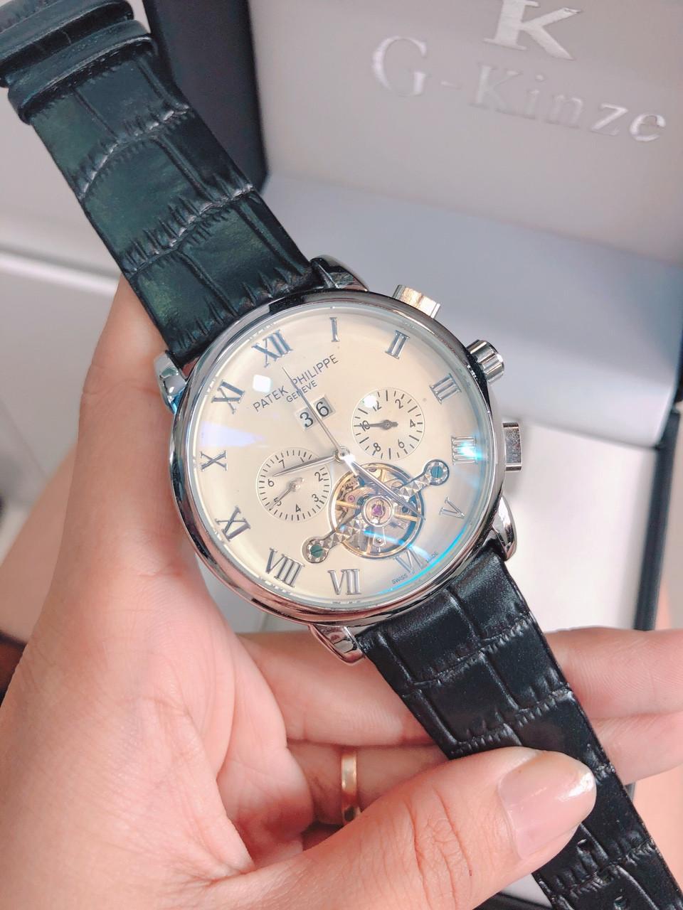 Đồng hồ nam automatic patek philippe montblanc dây da tốt bán chạy