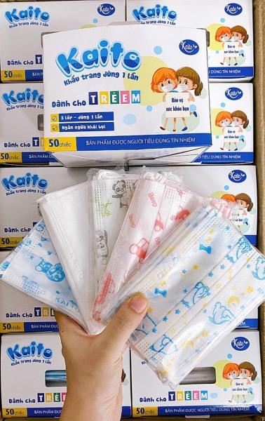 Hộp 50 Cái Khẩu Trang Em Bé KAITO In Hình Kháng Khuẩn, yên tâm cho bé dùng mùa dịch